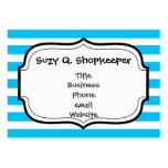 Teal Blue Turquoise and White Stripes Pattern Large Business Cards (Pack Of 100)