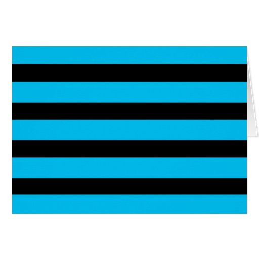 Teal Blue Turquoise and White Stripes Pattern Greeting Card