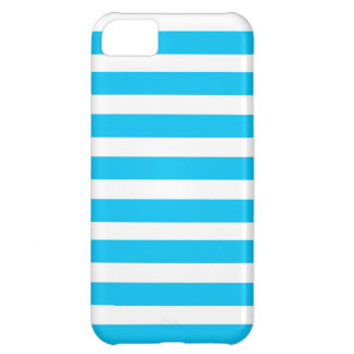 Teal Blue Turquoise and White Stripes Pattern Case For iPhone 5C