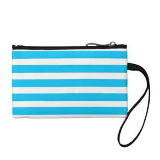 Teal Blue Turquoise and White Stripes Pattern Change Purse