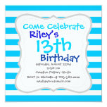 Teal Blue Turquoise and White Stripes Pattern 5.25x5.25 Square Paper Invitation Card