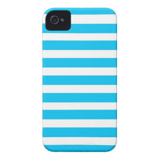 Teal Blue Turquoise and White Stripes Pattern iPhone 4 Case
