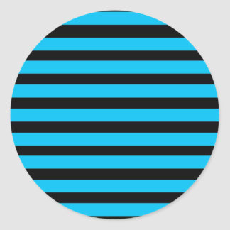 Teal Blue Turquoise and White Stripes Pattern Classic Round Sticker