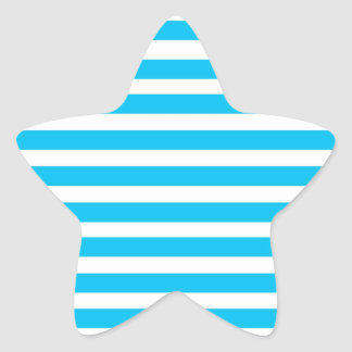 Teal Blue Turquoise and White Stripes Pattern Sticker