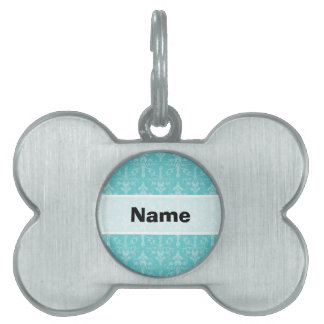 Teal Blue, Turquoise, Damask Pattern Pet ID Tag