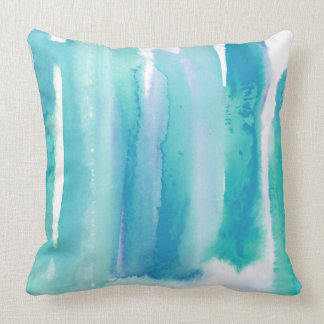 Teal Blue Turquoise Green Wash Watercolor Pillow