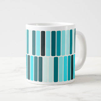 Teal Blue Turquoise Retro Abstract Stripes Pattern 20 Oz Large Ceramic Coffee Mug