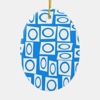 Teal Blue Turquoise White Circle Square Pattern Ceramic Ornament