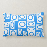 Teal Blue Turquoise White Circle Square Pattern Throw Pillow