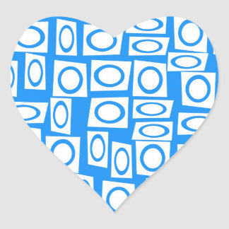 Teal Blue Turquoise White Circle Square Pattern Heart Sticker