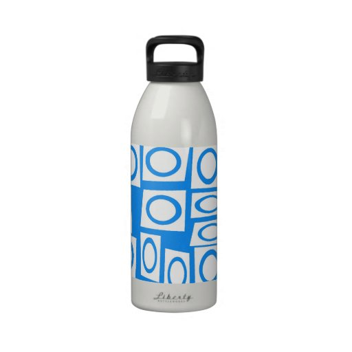 Teal Blue Turquoise White Circle Square Pattern Reusable Water Bottle