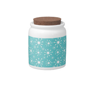 Teal Blue, Turquoise, White Winter Snowflakes Candy Jars