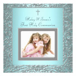 Teal Blue Twins Photo First Communion Custom Announcements