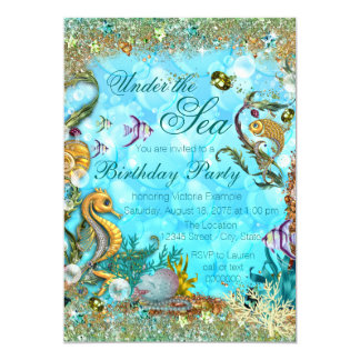 Teal Blue Under the Sea Birthday Party Card