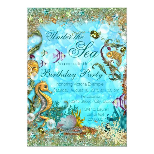 Teal Blue Under the Sea Birthday Party Card   Zazzle