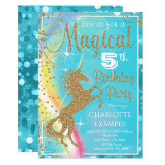 Teal Blue Unicorn Birthday Party Invitations