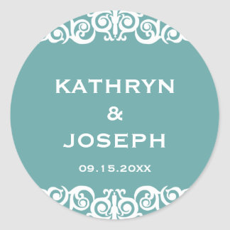Teal blue Victorian scroll wedding favor label Round Stickers