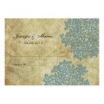 Teal Blue Vintage Floral Seating Card Business Card Template