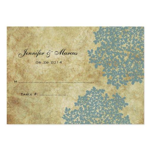 Teal Blue Vintage Floral Seating Card Large Business Cards (Pack Of 100)