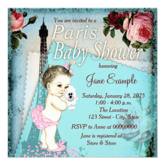 Teal Blue Vintage Paris Baby Shower Announcement