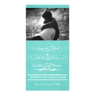 Teal Blue Vintage Poster Style Save the Date Photo Card