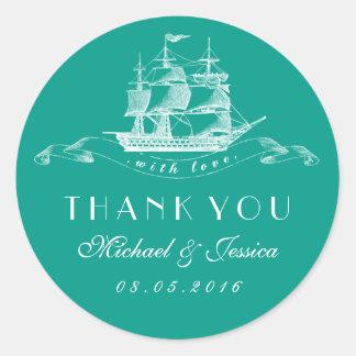 Teal Blue Vintage Ship Wedding Thank You Sticker