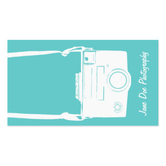 Teal Blue Vintage White Film Camera Photography Business Card