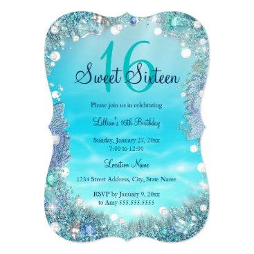 Zizzago Teal Blue Water Ocean Pearls Sweet 16 Party Card