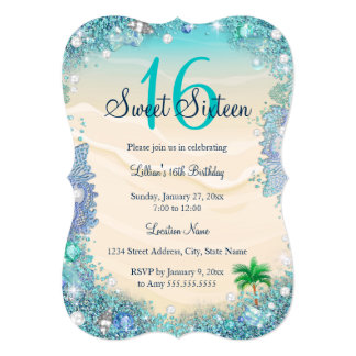 Teal Blue Water Ocean Sand Pearls Sweet 16 Party Card