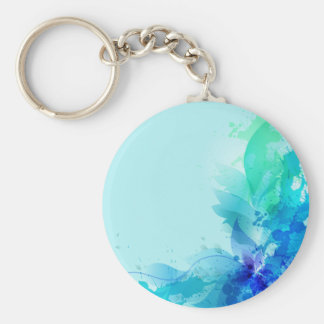Teal Blue Watercolor Abstract Key Chains