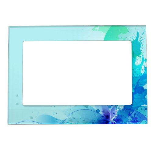 Teal Blue Watercolor Abstract Picture Frame Magnet Zazzle