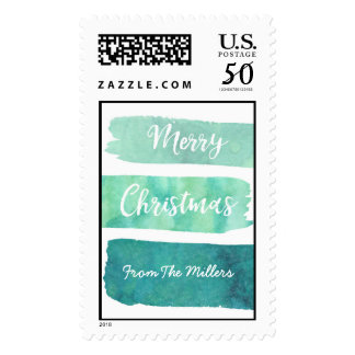 Teal Blue Watercolor Brush Strokes Merry Christmas Postage