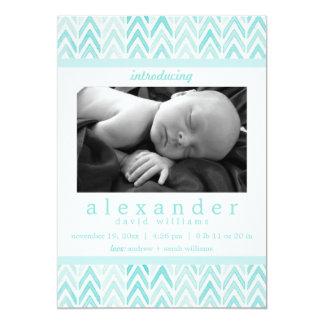 "Teal /Blue Watercolor Chevron Pattern Baby Birth 5"" X 7"" Invitation Card"