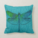 Teal Blue Watercolor Dragonfly Pillow