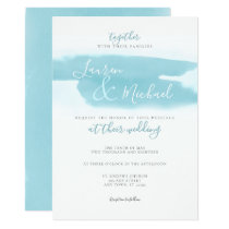 Teal Blue Watercolor Elegant Wedding Invitation