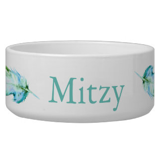 Teal Blue Watercolor Feathers Pet's Name Bowl