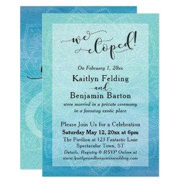 Beach Themed Teal Blue Watercolor Ombre Mandala We Eloped Card