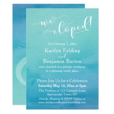 Beach Themed Teal Blue Watercolor Ombre We Eloped Reception Card