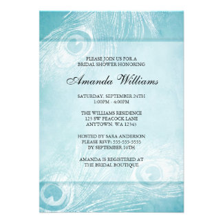 Teal Blue Watercolor Peacock Feather Bridal Shower Custom Announcement