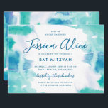 "Teal Blue Watercolor Tie Dye Bat Mitzvah Invitation<br><div class=""desc"">A teal blue and green wash of watercolor with a touch of purple,  with editable text and optional backer.</div>"