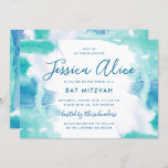 """Teal Blue Watercolor Tie Dye Bat Mitzvah Invitation<br><div class=""""desc"""">A teal blue and green wash of watercolor with a touch of purple,  with editable text and optional backer.</div>"""
