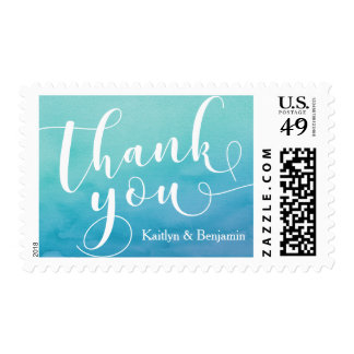 Teal & Blue Watercolor Typography Thank You, 19d 2 Postage