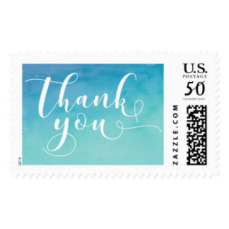 Teal & Blue Watercolor Typography Thank You, 19d Postage