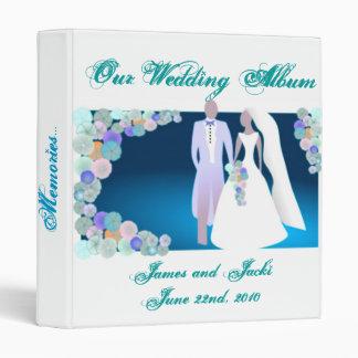 Teal Blue Wedding Album, Flowers & Bride and Groom Binder