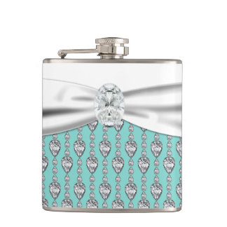 Teal Blue Wedding Hip Flask