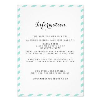 Teal Blue Wedding Information Insert Card