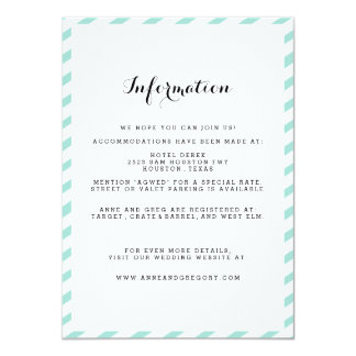 Teal Blue Wedding Information Insert Card Personalized Announcement