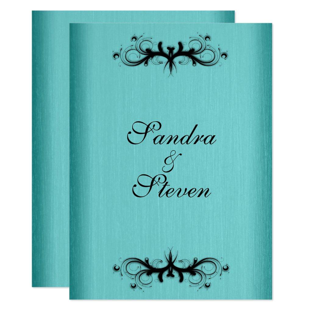 Teal Blue Wedding Invitation