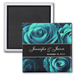 TEAL BLUE Wedding Rose Bouquet with Lace 2 Inch Square Magnet