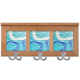 teal blue white abstract wall image coat rack